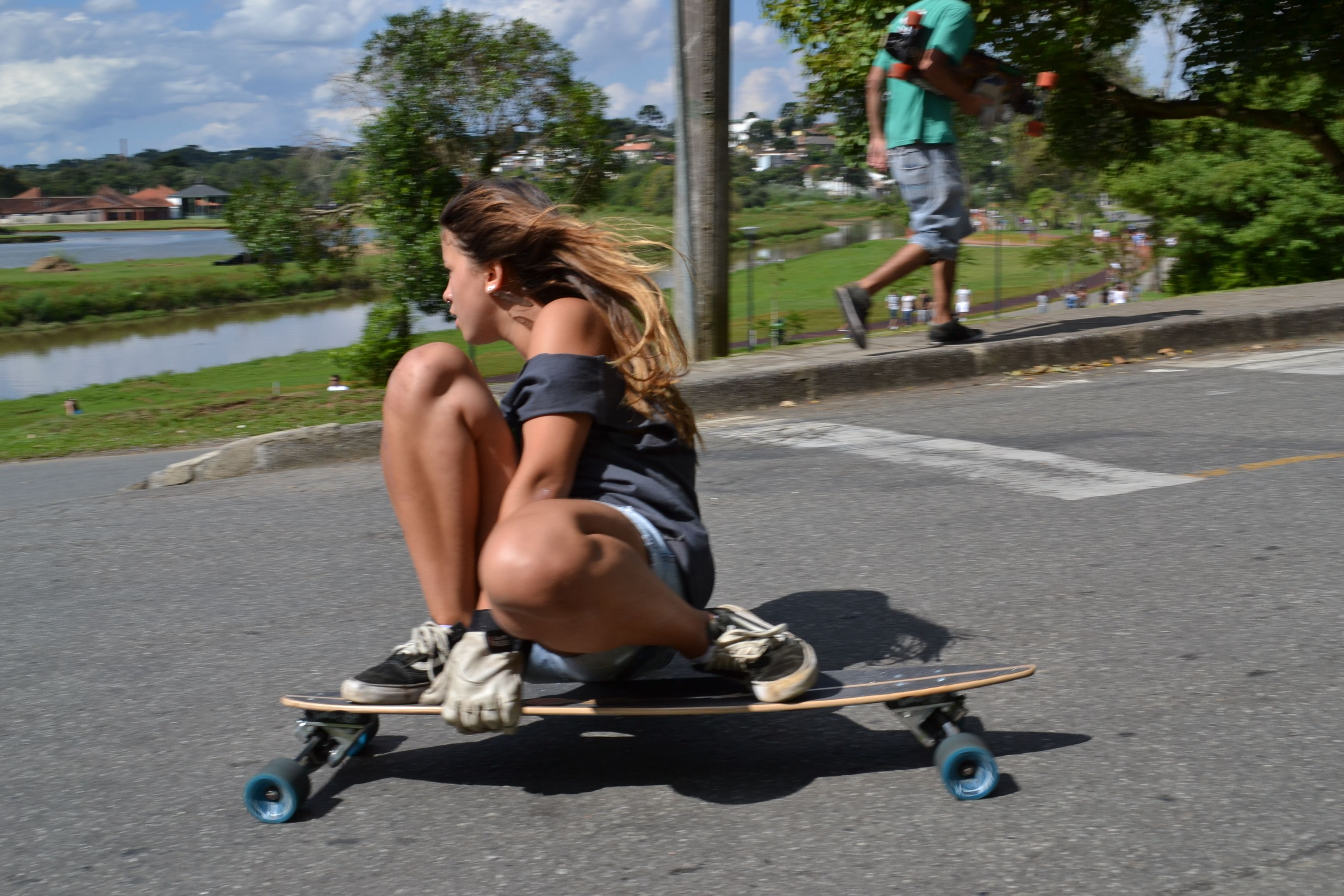 Manda Kay In Naked Blonde Skateboards Outdoors