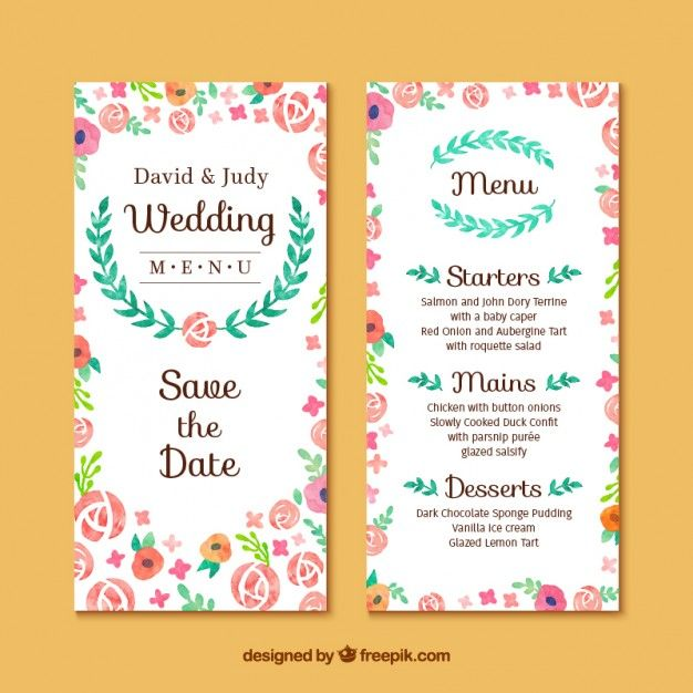Attractive Floral Wedding Invitation Card Free Vector