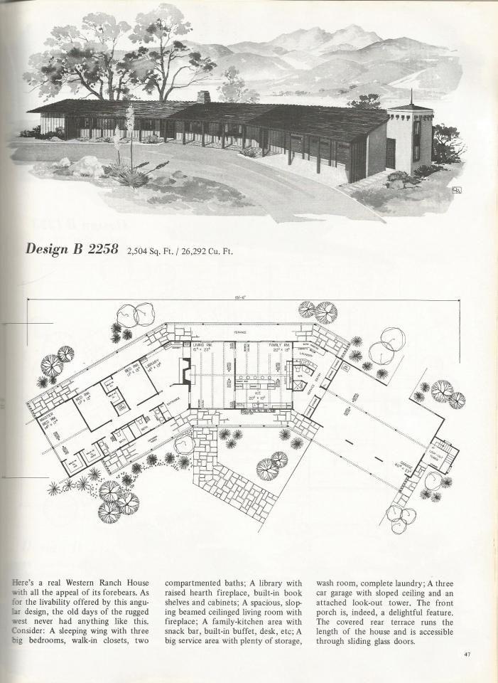 Vintage House Plans 2258 Vintage House Plans Mid Century Modern House Plans Large Family House Plan