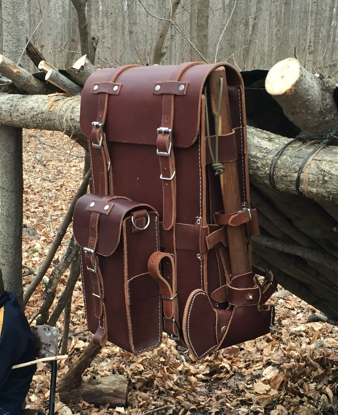 Leather bushcraft day pack with detachable belt system for pouches and camp  axe holder. All hand sewn in 9-10oz Latigo (front and back) and 6-7oz  Latigo ... db399a74b3a