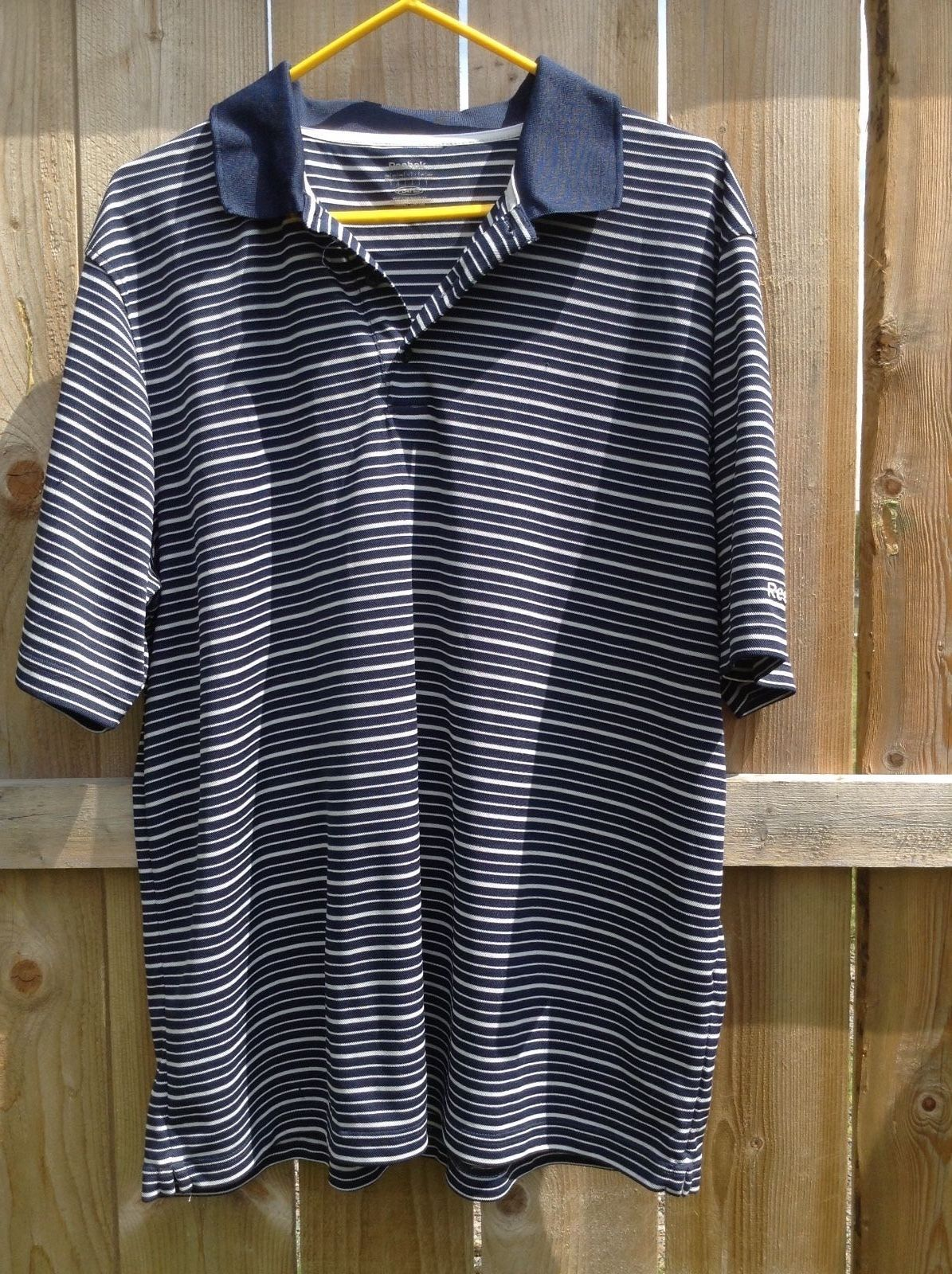 Mens XL Reebok blue and white stripe polo or golf short sleeve shirt