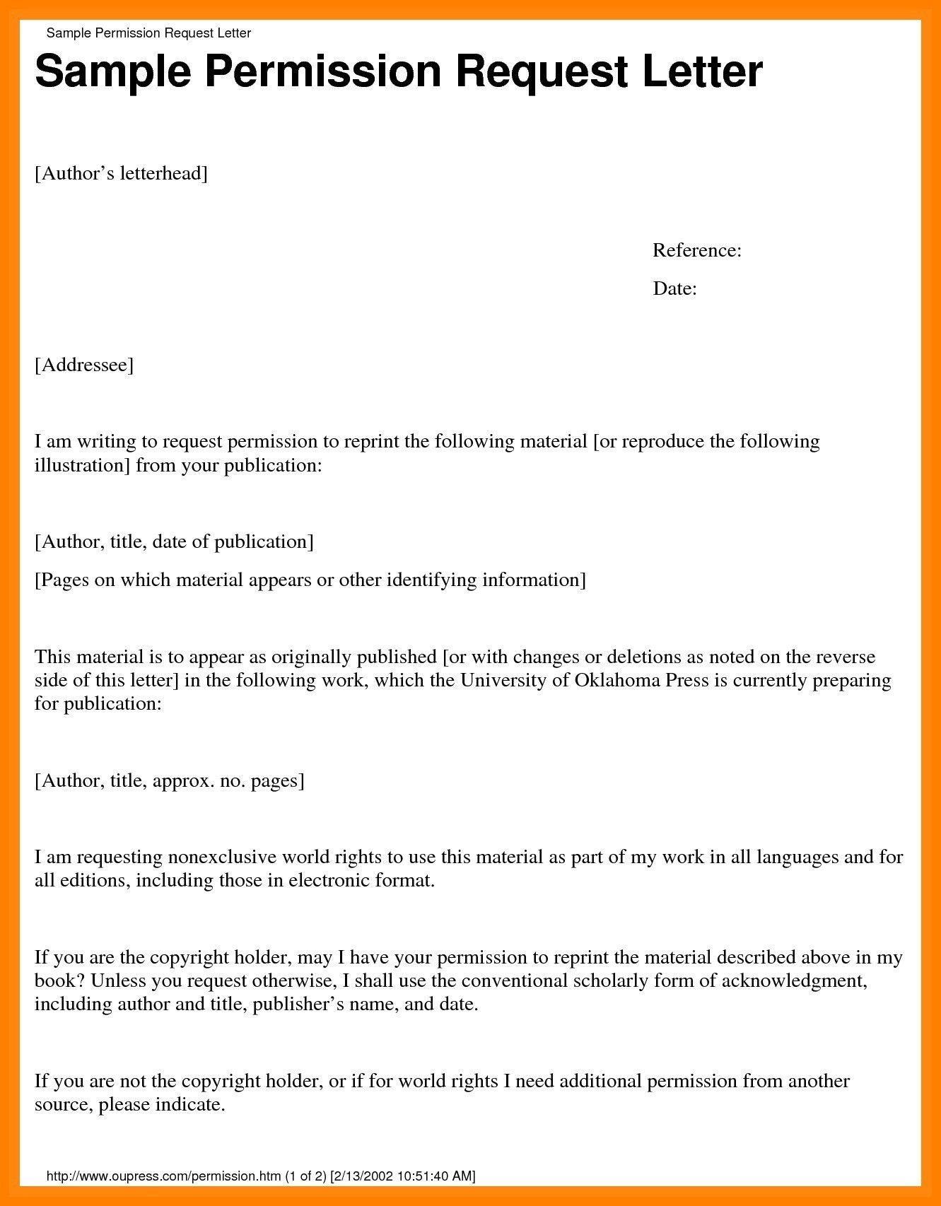 Sample Of Permission Letter To Travel Sample Of Permission