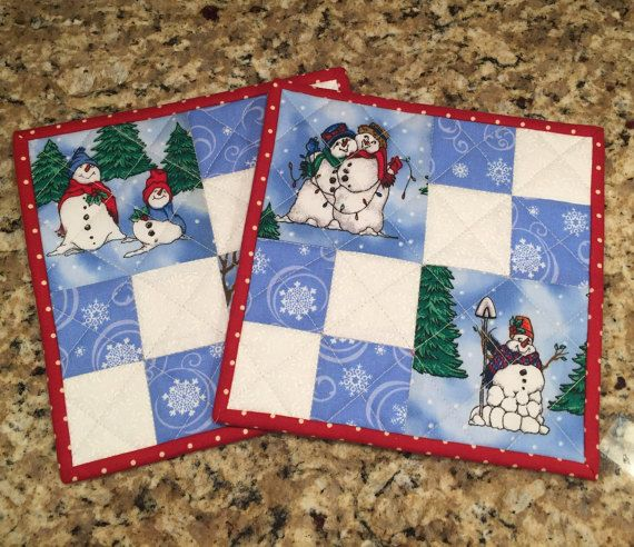 Quilted Potholders Snowmen Pot Holders Blue And White Trivet Hot