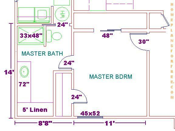 Floor plan for a 8x14 bath and 11x13 bedroom master for Room design 11x13