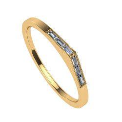 Peaked Diamond Baguette Wedding Band In 10k Yellow Gold