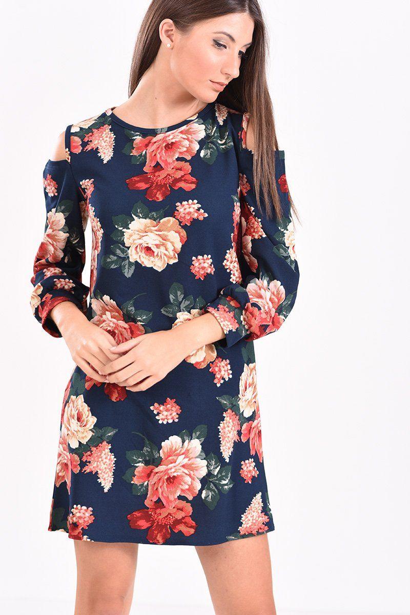 53c718e0bc9e Φόρεμα μακρυμάνικο κοντό φλοράλ σε μπλε αποχρώσεις