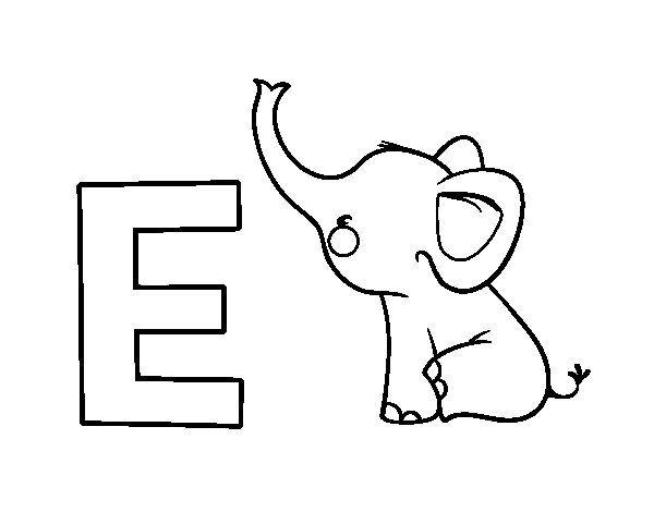 Dibujo Elefante Para Colorear E Imprimir: Dibujo De E De Elefante Para Colorear