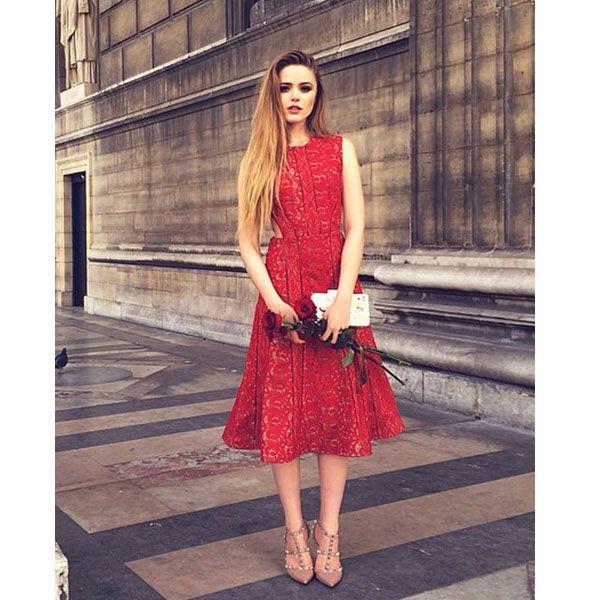 Self portrait red lace dress