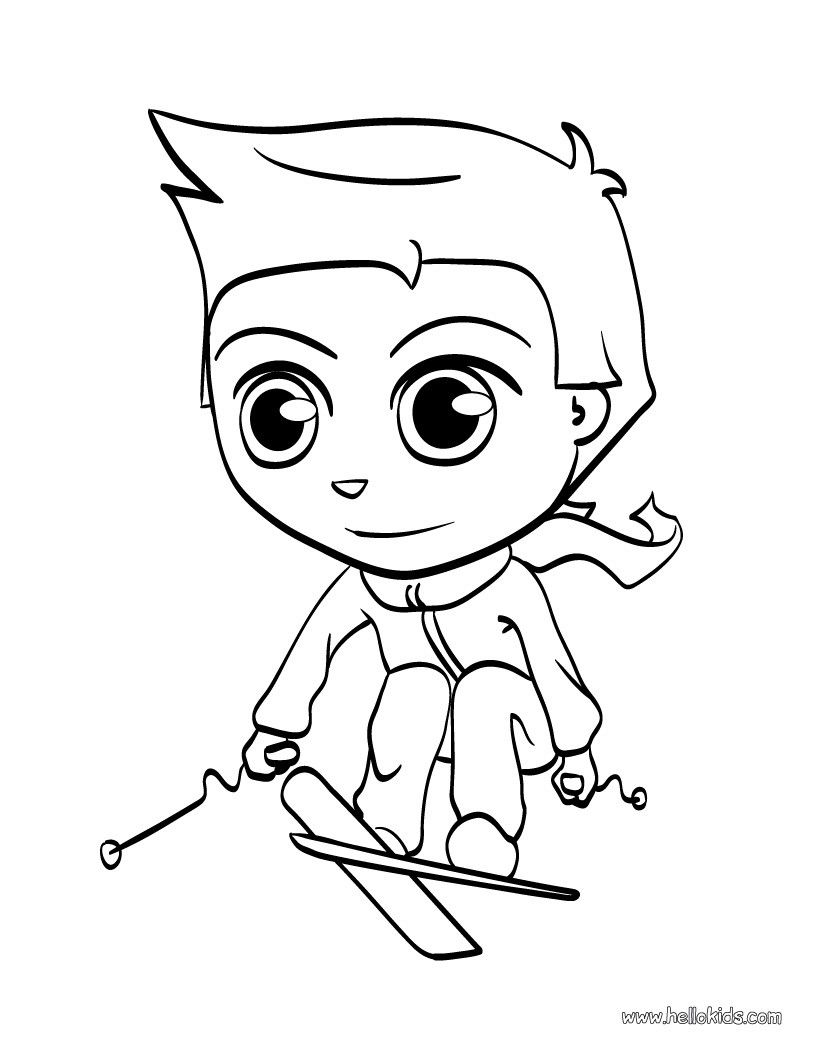 Skiing kid coloring page! You can print out this sports coloring ...