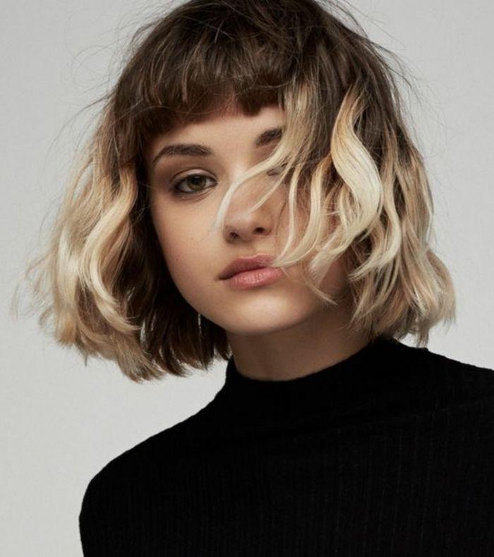 id e tendance coupe coiffure femme 2017 2018 ombr blond sur un carr court avec frange sur. Black Bedroom Furniture Sets. Home Design Ideas