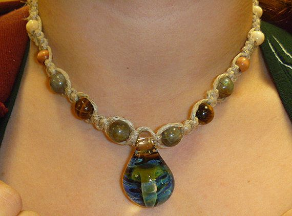 Hemp necklace large glass mushroom pendant with wood and stones hemp necklace large glass mushroom pendant by sherrishempdesigns 2600 aloadofball Images
