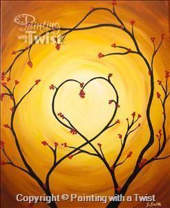 Heart And Love Tree Easy Canvas Painting Idea