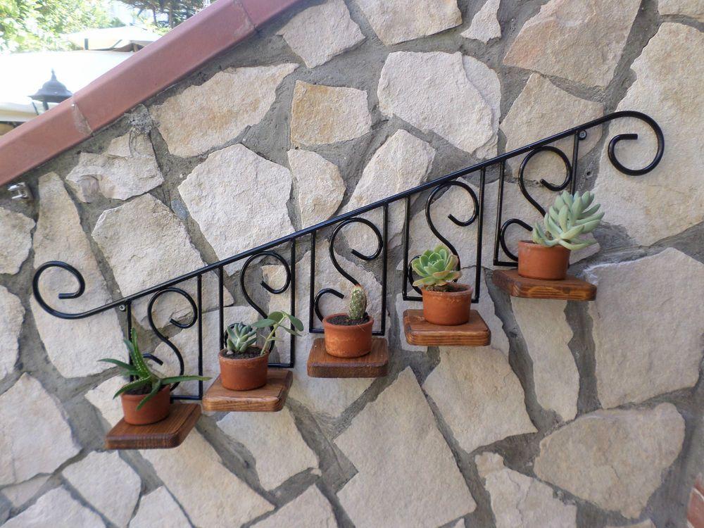 Porta vaso piante fiori fioriera mensola in ferro battuto for Piante per ingresso esterno