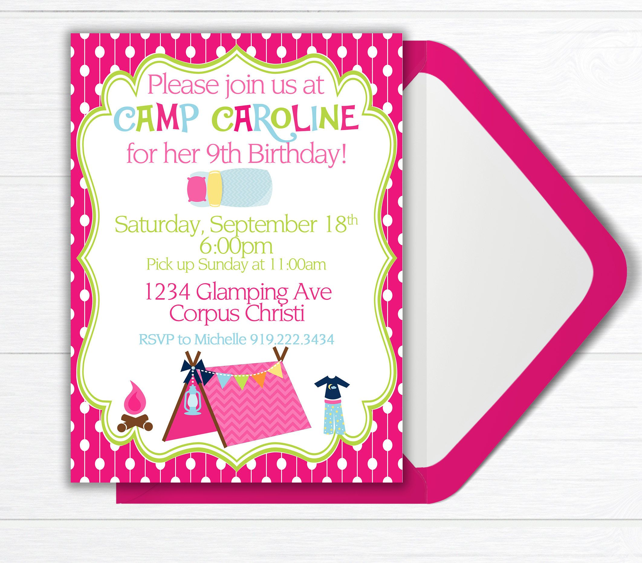 Camping Birthday Party Invitation, Girls Camping Birthday Party ...