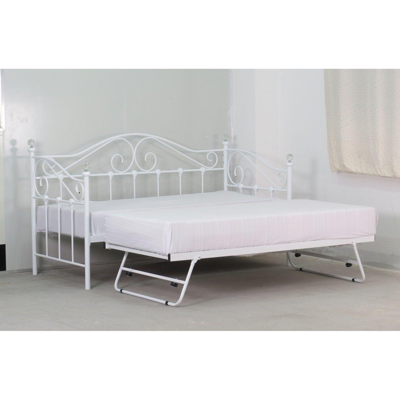 Add Vienna Day Bed White + Vienna Trundle White spare bed + 2x Capri  Mattress 3ft