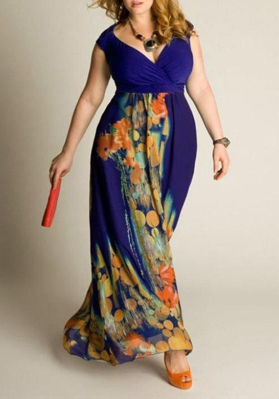 42fba22a2c2 Blue Floral Draped V-neck Sleeveless Plus Size Maxi Dress