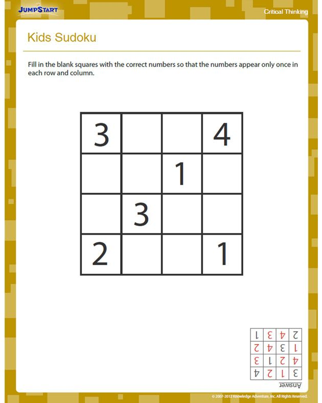 Kids Sudoku - Free Critical Thinking Worksheet for 2nd Grade ...