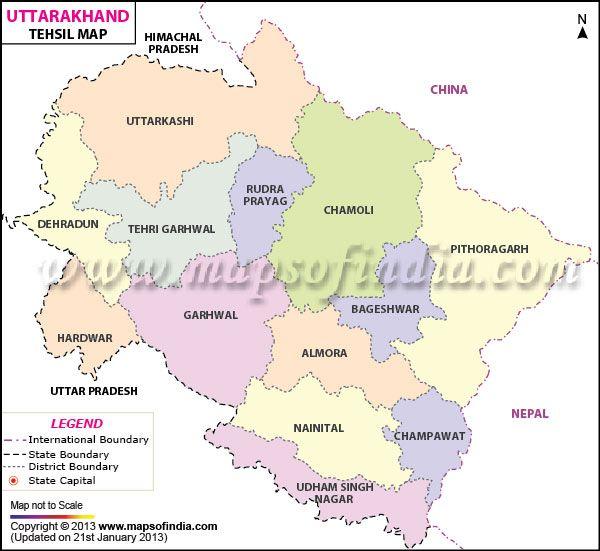 Uttarakhand Tehsil Map   Travel to Uttarakhand   Map