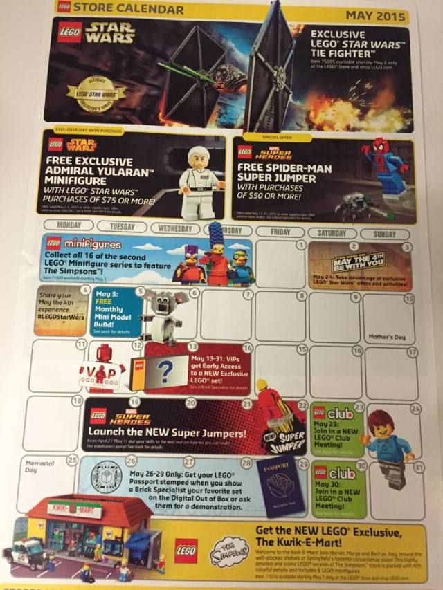 May 2015 LEGO Store Calendar LEGO Star Wars May the 4th 2015 ...