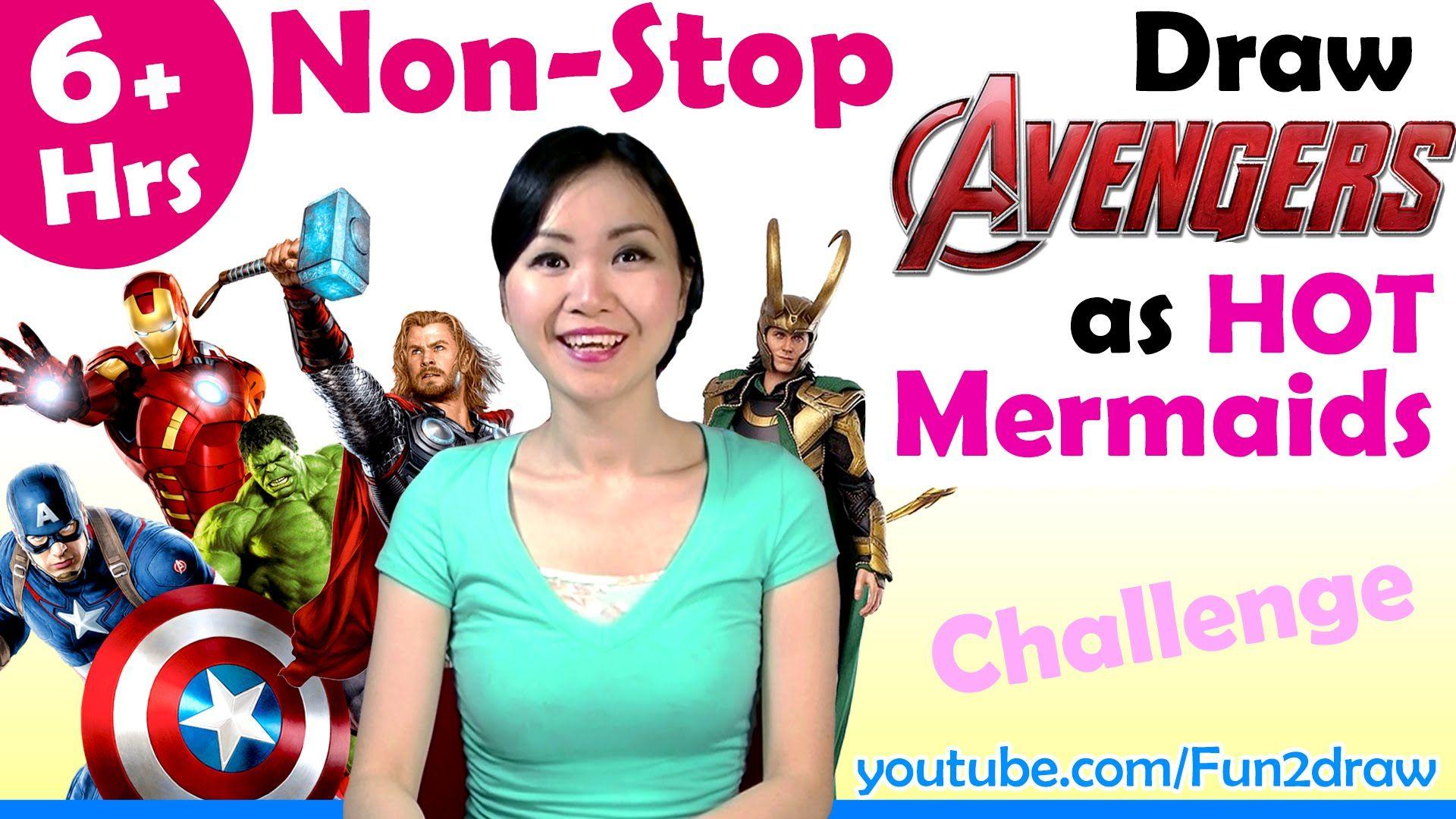 Art Video - Draw Avengers as HOT Mermaids - 6+ Hours Nonstop Challenge