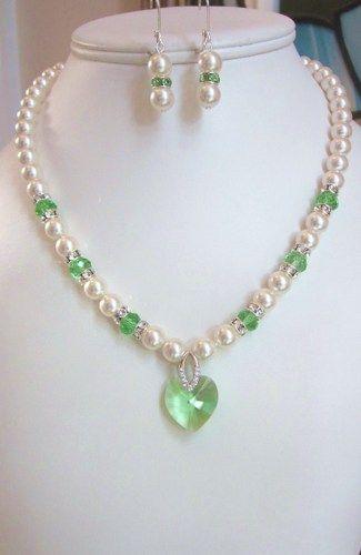 1ad493a3240c7 Peridot Swarovski Pearl and Crystal Necklace - White Swarovski ...