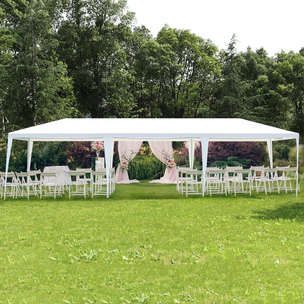 10 X 30 Outdoor Canopy Party Wedding Tent Color White Green Model 30 X10 Ft Three Side Wall Material Pol Outdoor Wedding Wedding Tent Backyard Wedding