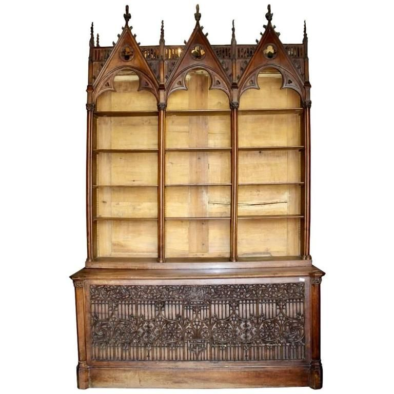 19th Century French Gothic Bookcase Or Open Cabinet 1 Open Cabinets Walnut Bookcase Vintage Furniture For Sale