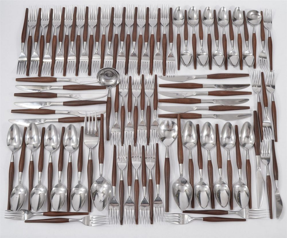 1960 danish modern stainless canoe muffin style japan silverware flatware 107 pc flatwear - Contemporary stainless flatware ...