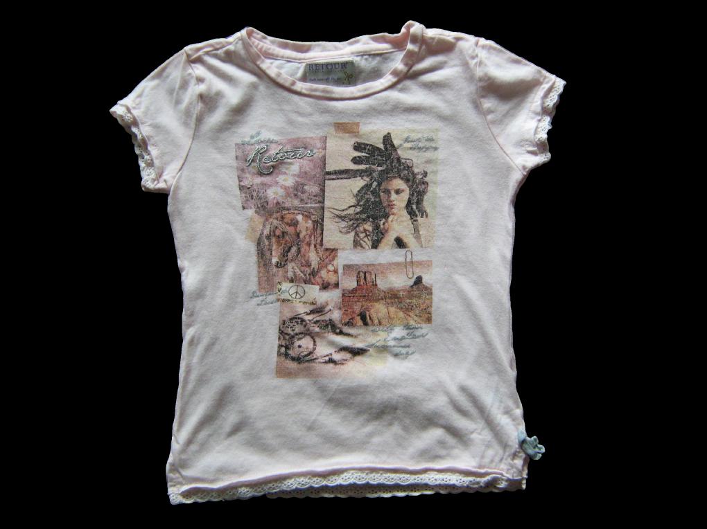 Maat 110/116 T-shirt Zalm met print voor  Merk Retour