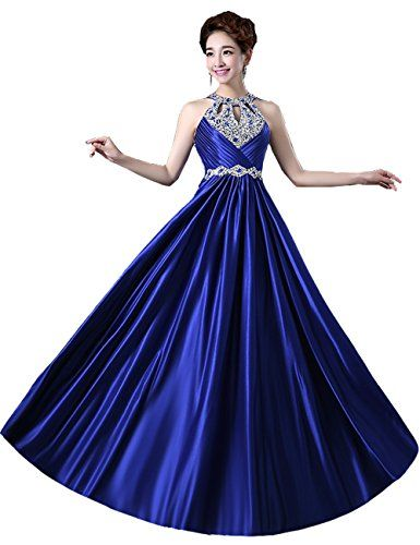 Mulanbridal Halter Aline Evening Dress Prom Party Gown Beads Wedding Bridal Gowns Blue 10 >>> Learn more by visiting the image link.