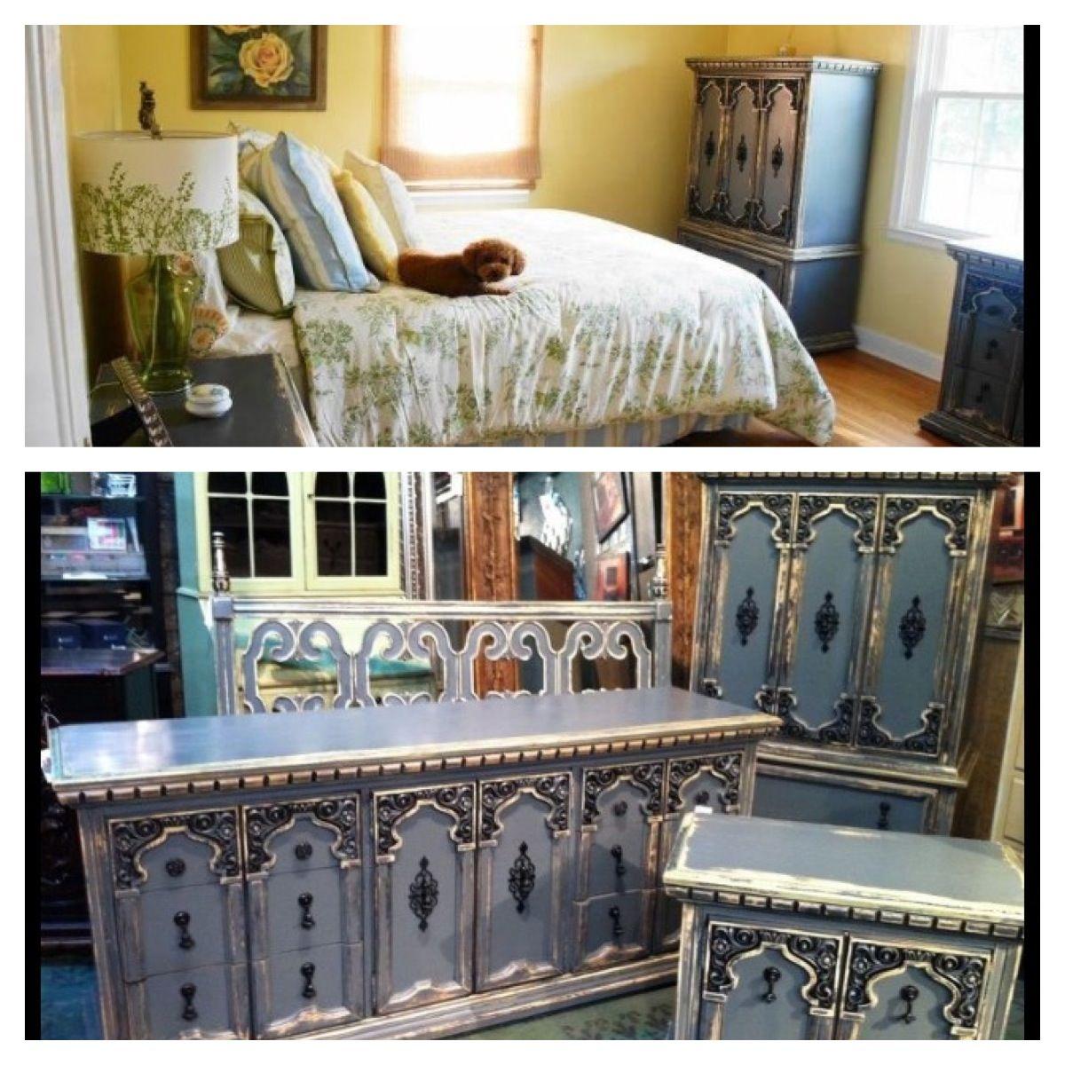Grey Vintage Bedroom: Vintage Bedroom Set In A Funky 3 Step Grey Finish. For