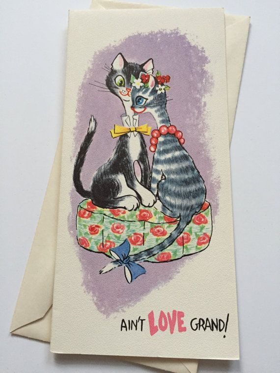 Reserved Anniversary Greeting Card Cat Couple Anniversary Etsy Anniversary Greeting Cards Vintage Greeting Cards Cards