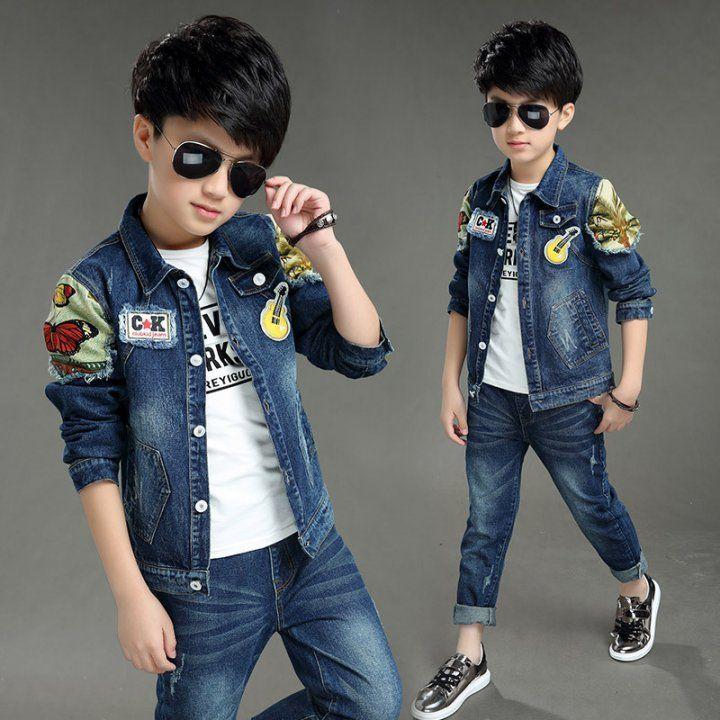 Boys Denim Hoodie Jacket Coat Causal Long Sleeve Zipper Kids Blue Jeans Top Clothing Spring Autumn Outerwear
