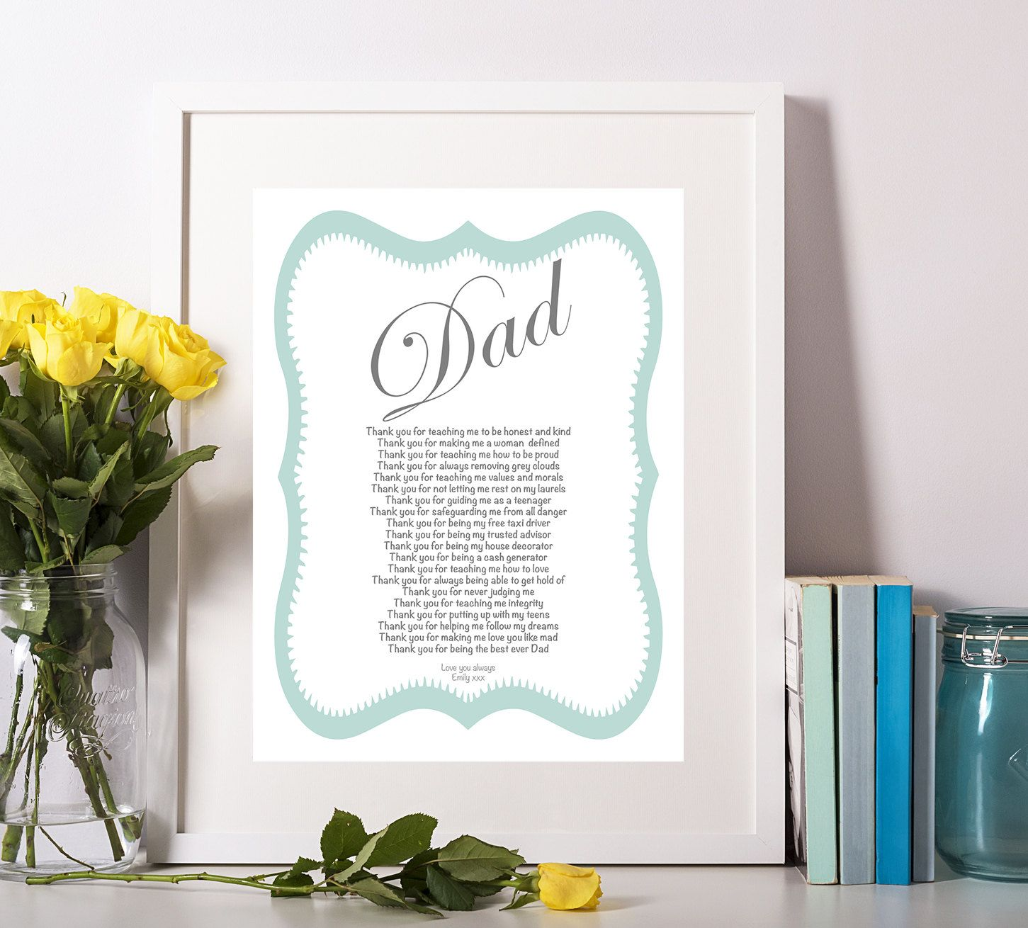 Personalised Dad Poem Daughter Wedding Birthday Gift Unique Fathers Day Father Of