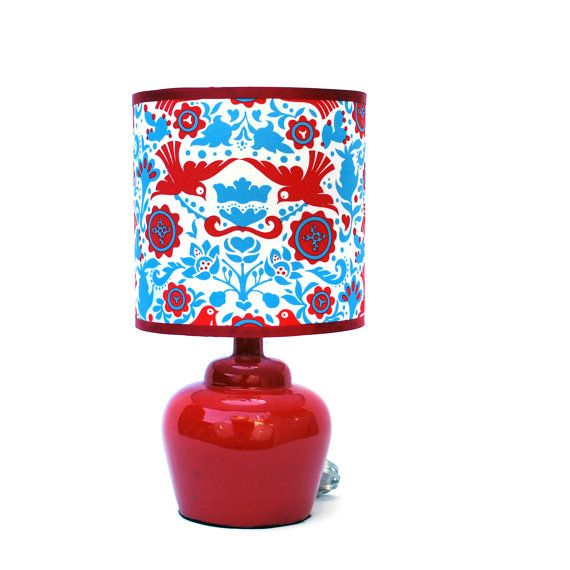 Red Plump Ceramic Lamp with Shade