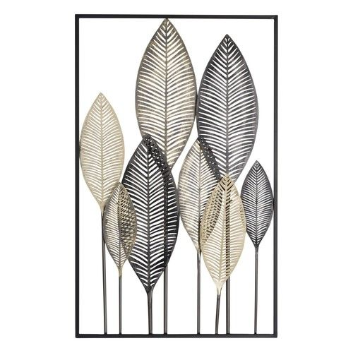 Déco murale plumes en métal noir et doré 53x84