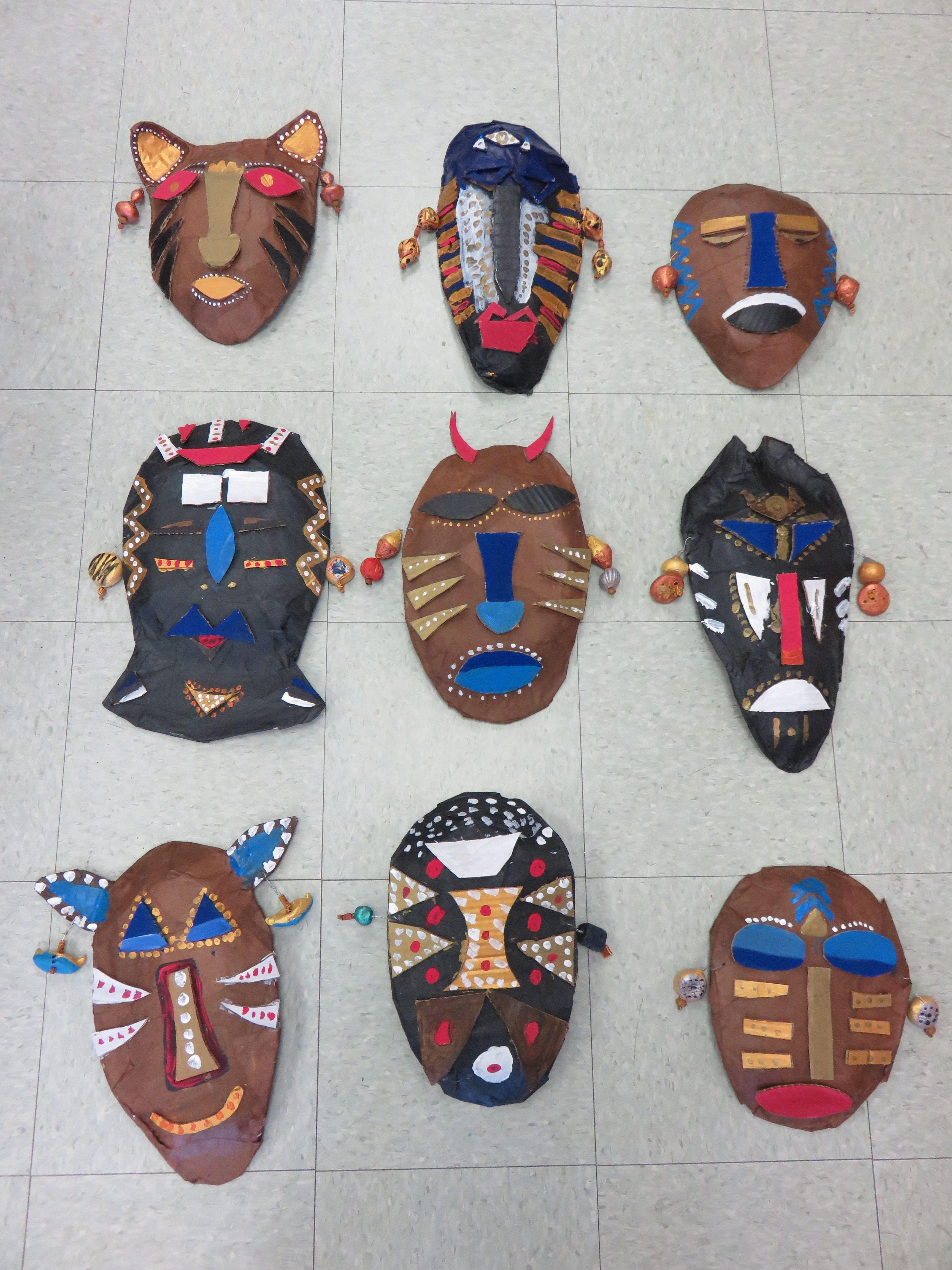 3rd Grade Paper Mache African Masks Approx 10 14 In