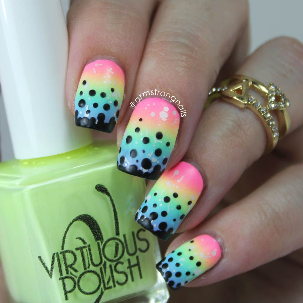 rainbow gradient nail art, with black dots to cover tip wear..a ...