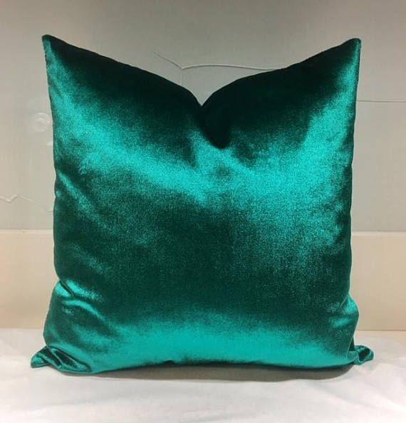 Green Velvet Pillow Emerald Green