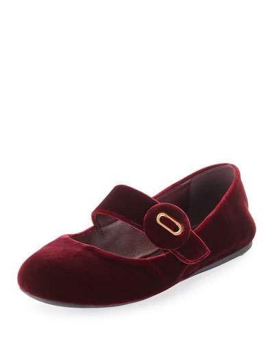 4ddfb20e658 Prada Velvet Mary Jane Ballet Flat