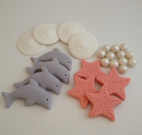 Dolphin or Ocean Themed Cupcake Toppers Fondant Themed cupcakes
