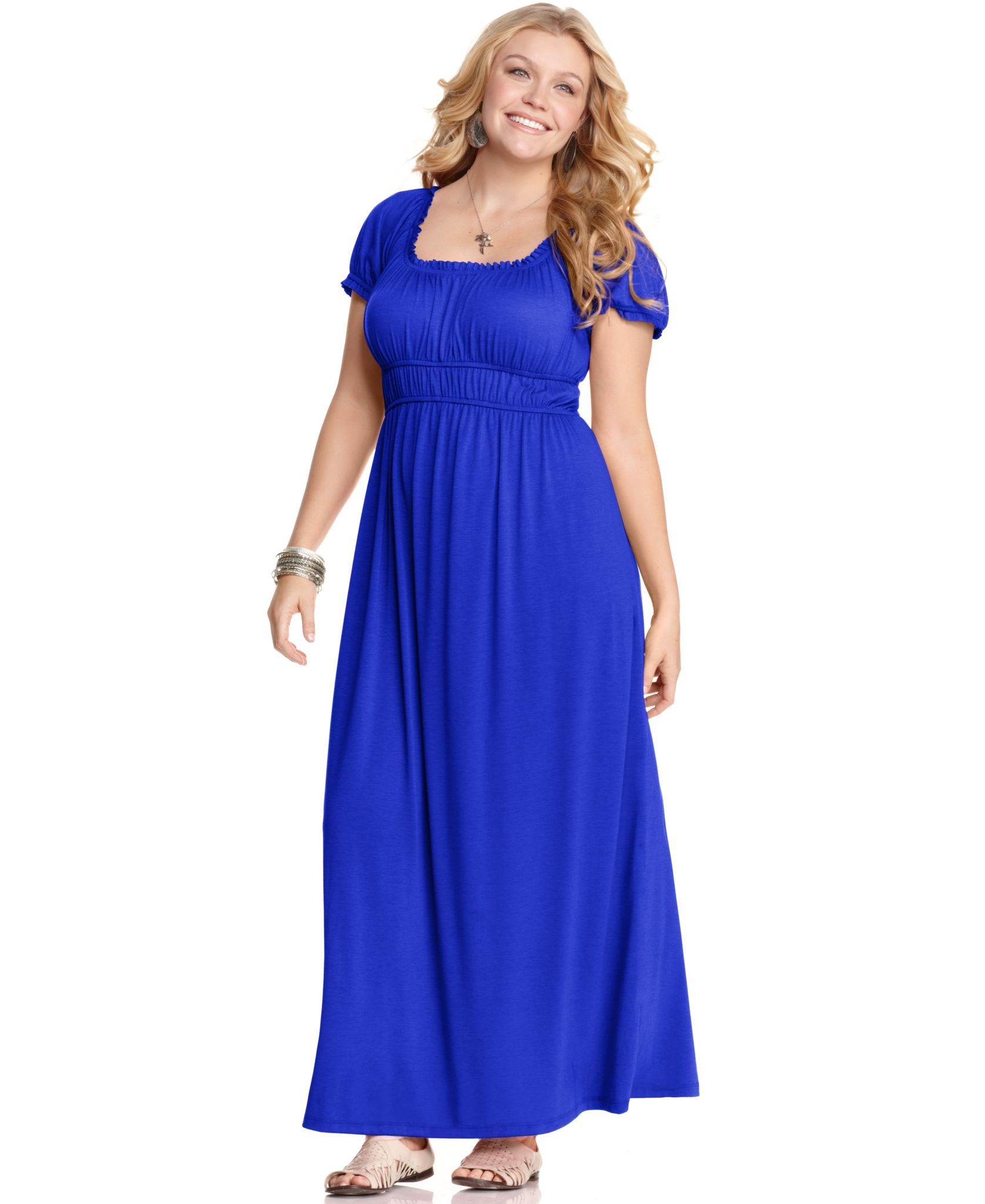 Love Squared Plus Size Dress, Short Sleeve Empire Maxi - Plus Size ...