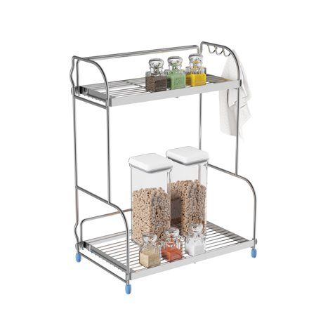 Kitchen Rack 2 Tiered Countertop Storage Shelves With 3 Side Hooks