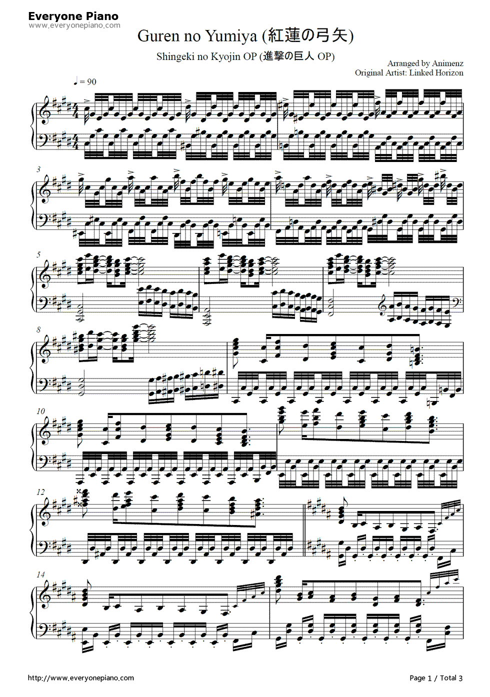 Guren no Yumiya Sheet music I HAVE FOUND ITTTTTTTTT