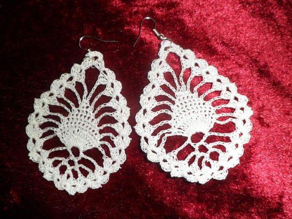 pendientes de gota de agua al crochet patrón | crochet | Pinterest ...