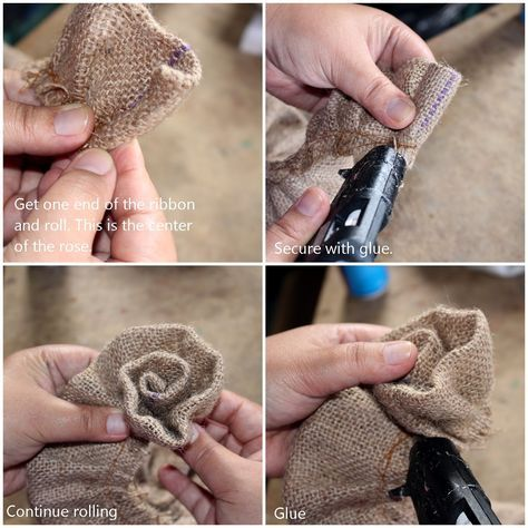Reduce reuse recycle replenish restore diy how to for How to make hessian flowers