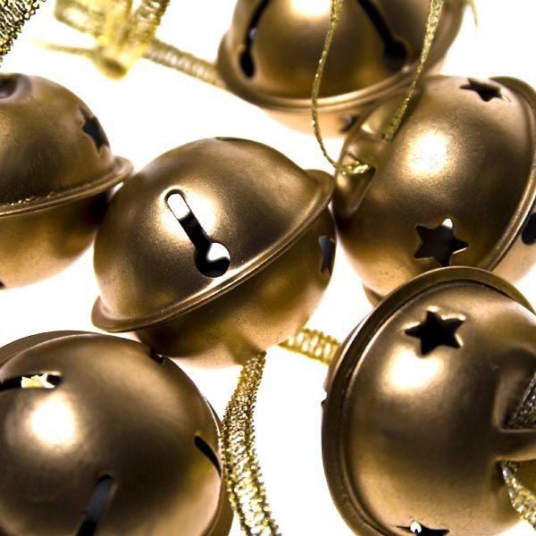 Christmas Jingle Bell Decorations - 6 x Gold 3cm Christmas gift