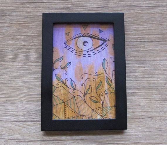 "4 x 6"" Eye and Leaf Geometric Landscape // Framed Mixed Media Wall Art"