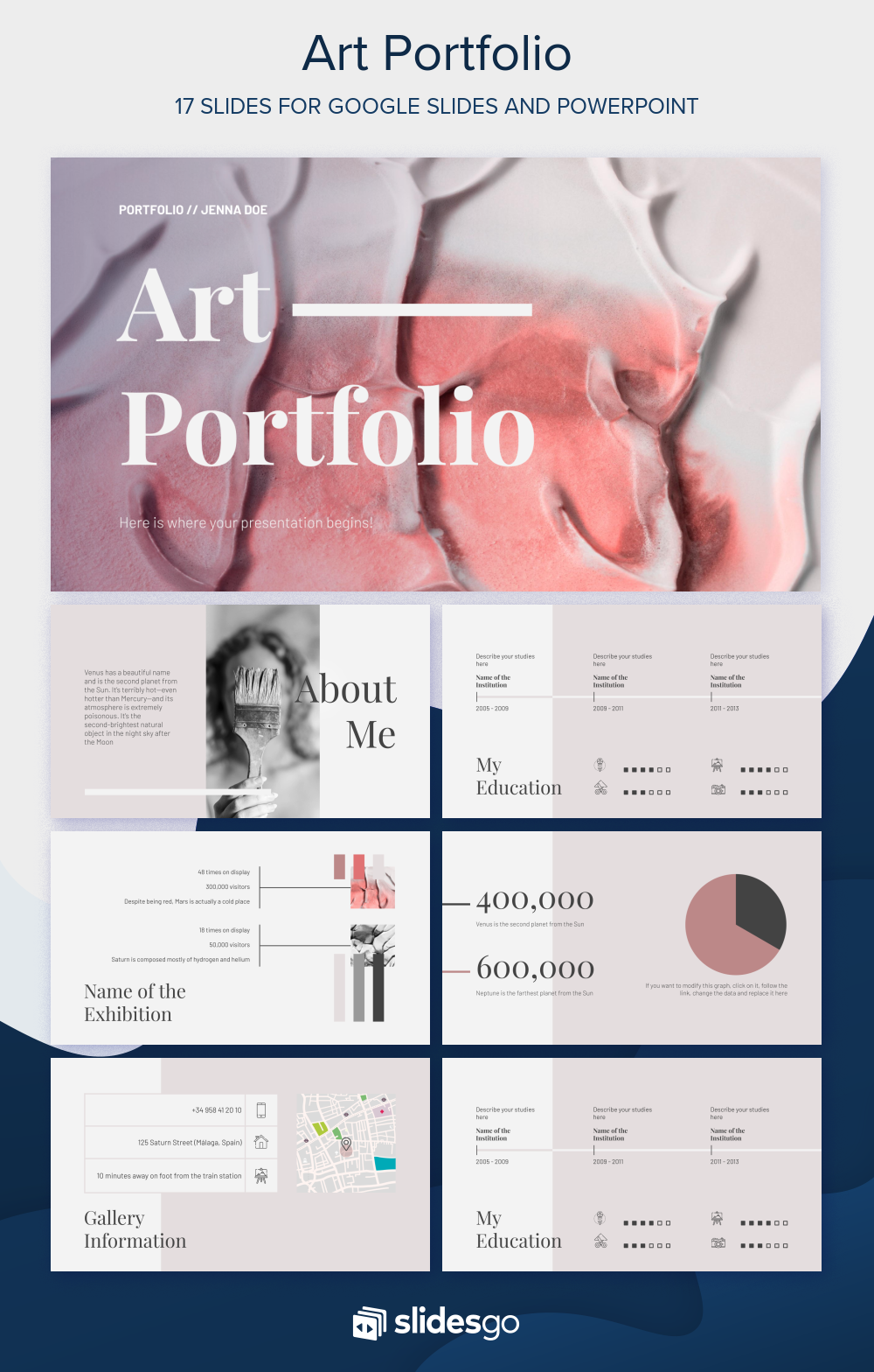 Create A Digital Version Of Your Own Art Portfolio By Using This Formal Template For Powerpoint Portfolio Template Design Art Portfolio Free Portfolio Template