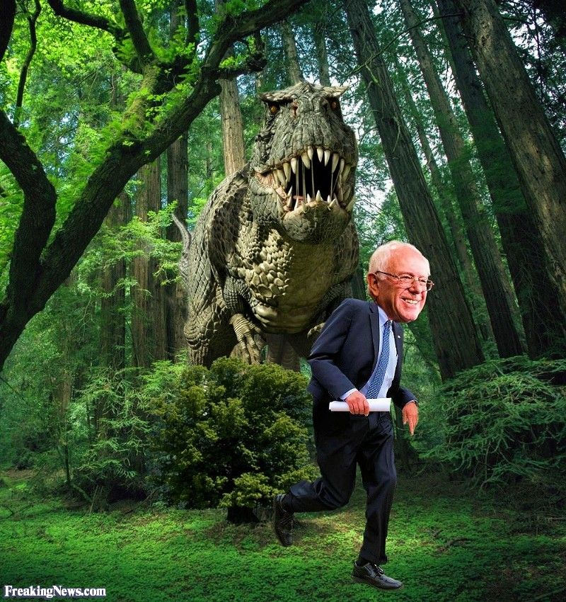Bernie Sanders Chased By A Dinosaur Dinosaur Pictures Dinosaur Funny Pictures